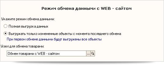 Режим обмена данными с Web-сайтом